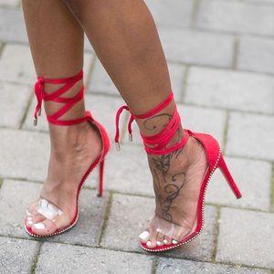 Shoes - Red Tie-Up Heels
